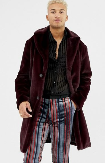 MENS LONGLINE BURGUNDY OVERCOAT BY ASOS DESIGN