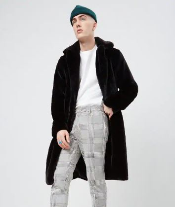 MENS LONGLINE FAUX FUR COAT FROM FOREVER 21