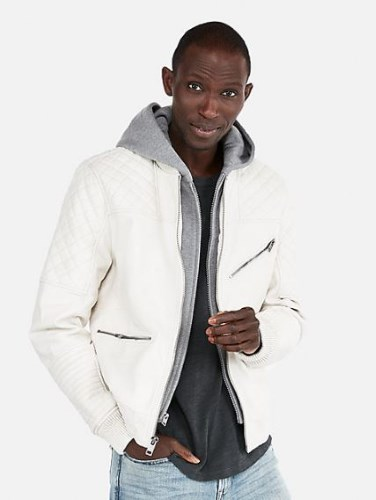 MENS (MINUS THE) LEATHER HOODED BOMBER JACKET BY EXPRESS