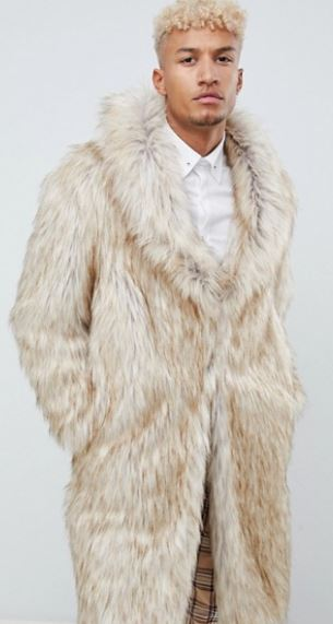 MENS OVERSIZED FAUX FUR COAT BY ASOS DESIGN