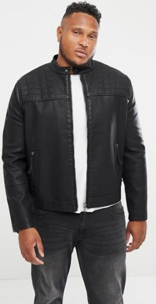 MENS QUILT DETAIL BIKER JACKET FROM NEW LOOK