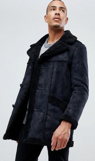 MENS TALL FAUX SHEARLING JACKET BY ASOS DESIGN
