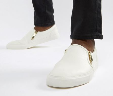 MENS WHITE FAUX LEATHER PLIMSOLLS BY ASOS DESIGN