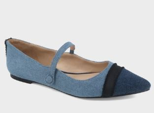NELLIE DENIM MARY JANE BALLET FLATS FROM WHO WHAT WEAR