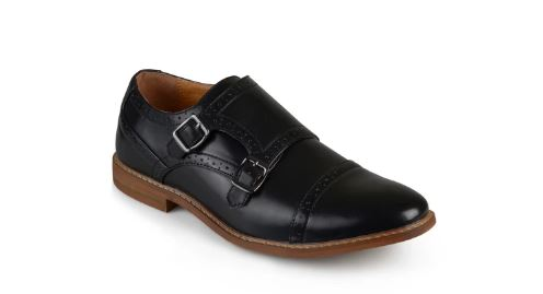 PERFORATED DETAIL MONK STRAP SHOES FROM VANCE CO.