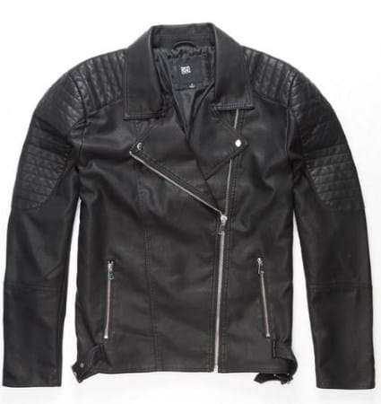 QUILTED SLEEVE FAUX LEATHER MOTO JACKET FROM RSQ