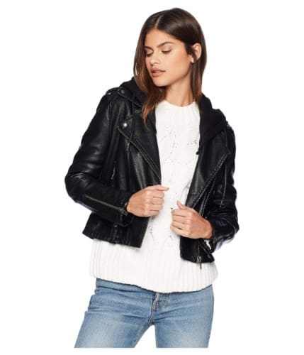 WOMENS BLACK VEGAN LEATHER MOTO JACKET BY BLANK NYC