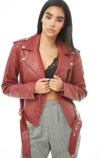 WOMENS BURGUNDY FAUX LEATHER MOTO JACKET BY FOREVER 21