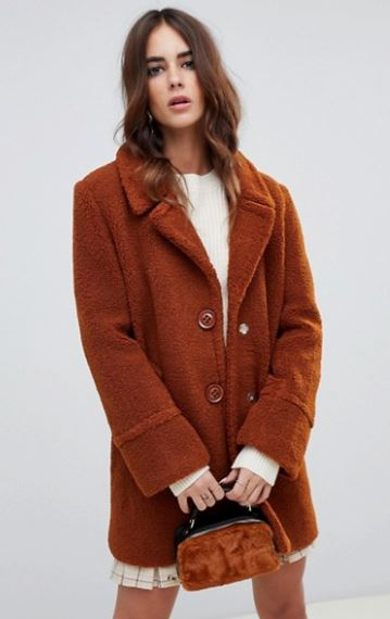 WOMENS BUTTONED TEDDY COAT FROM FASHION UNION