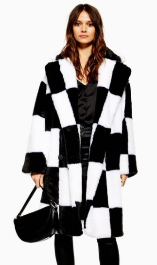 WOMENS CHECKERBOARD FAUX FUR COAT FROM TOPSHOP