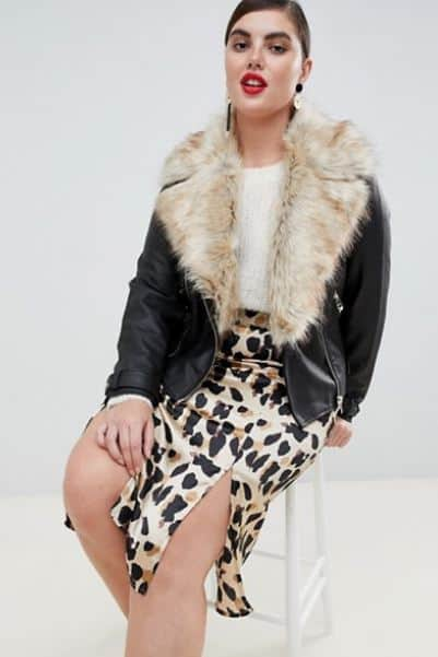 WOMENS FAUX FUR TRIM BIKER JACKET BY RIVER ISLAND