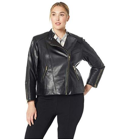 WOMENS FAUX LEATHER MOTO JACKET BY CALVIN KLEIN