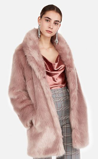 WOMENS FAWN FAUX FUR COAT BY EXPRESS