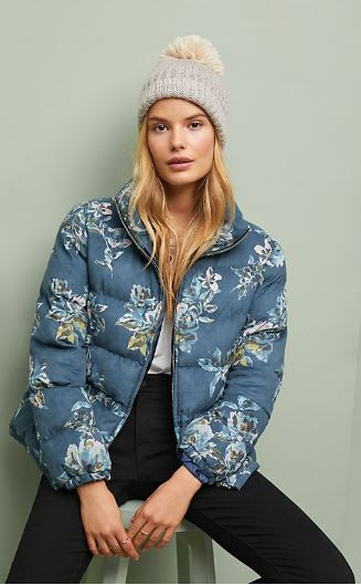 WOMENS FLORAL PUFFER COAT FROM ANTHROPOLOGIE