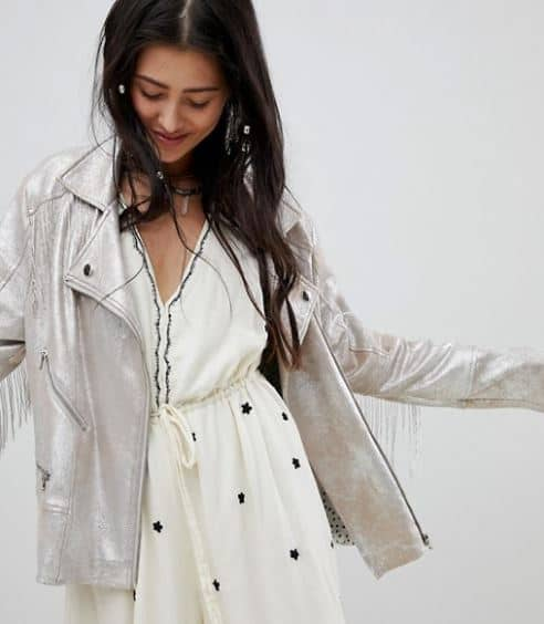 WOMENS METALLIC FESTIVAL BIKER JACKET BY NATIVE ROSE