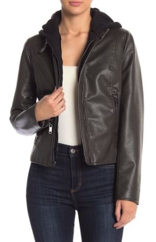 WOMENS PEBBLED FAUX LEATHER JACKET FROM FRENCH CONNECTION