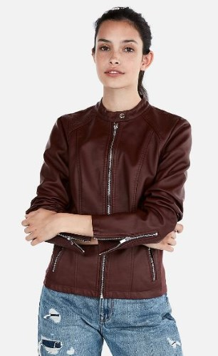 WOMENS PETITE VEGAN (MINUS THE) LEATHER JACKET BY EXPRESS