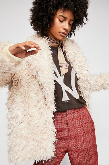 WOMENS SHAGGY FAUX FUR JACKET FROM FREE PEOPLE