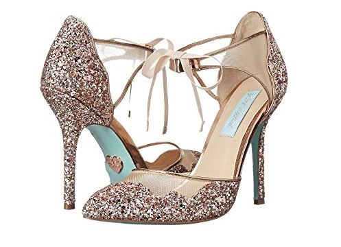 WOMENS STELA GLITTER BRIDAL PUMPS FROM BLUE BY BETSEY JOHNSON