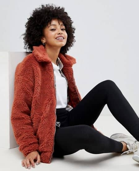 WOMENS TEDDY BOMBER JACKET FROM NEW LOOK