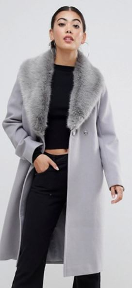WOMENS TIE COAT WITH FAUX FUR BY ASOS DESIGN