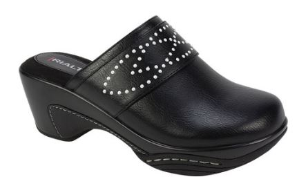 WOMENS VARO FAUX LEATHER DRESS CLOGS FROM RIALTO