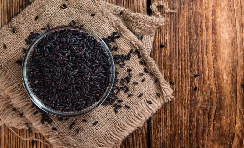 black rice on a table