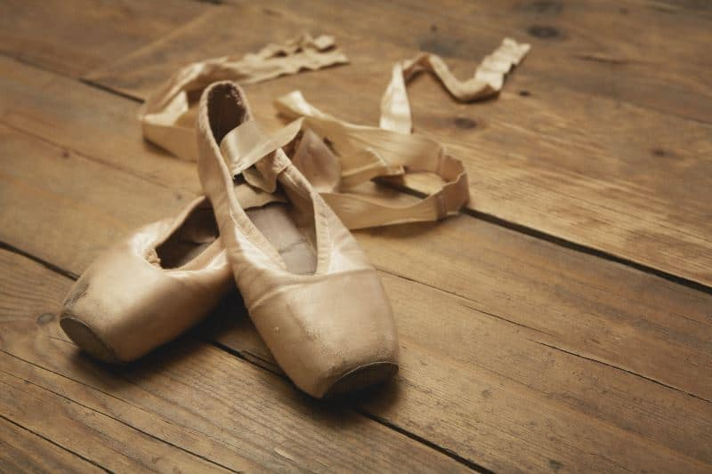 vegan ballet shoes on the floor