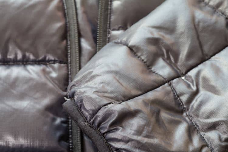 vegan down coat up close