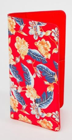 BRIGHT RED TROPICAL TRAVEL PASSPORT WALLET BY KADO