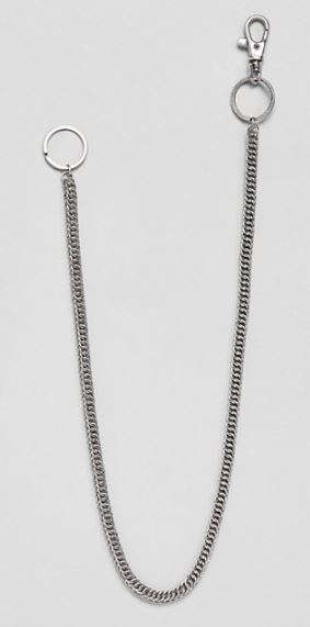 BURNISHED SILVER FINE LINK SNAKE CHAIN BY ASOS DESIGN