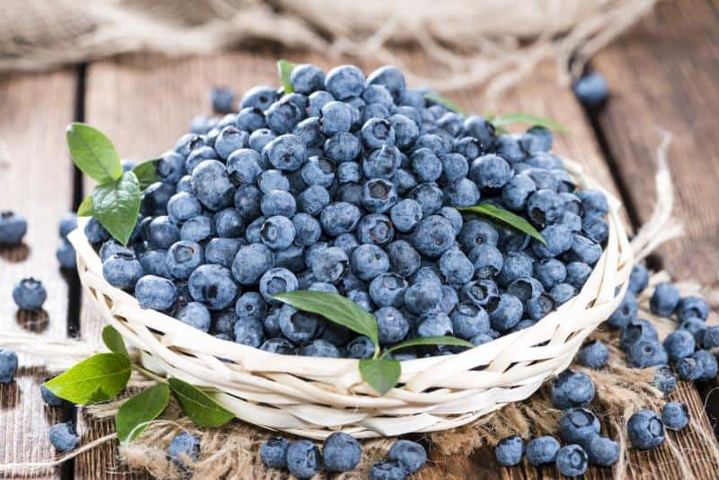 shot of blueberries in a basket