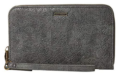 CHARCOAL EMBOSSED FAUX LEATHER WON MY HEART WALLET BY ROXY