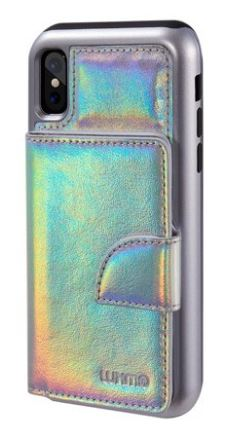 HOLOGRAPHIC IPHONE VEGAN LEATHER WALLET BY SUMACLIFE