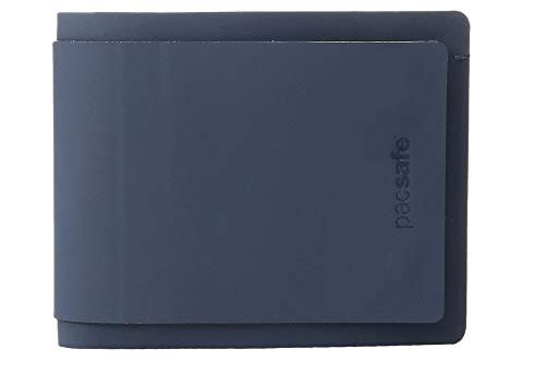 MENS NAVY BLUE RFIDSAFE TEC BIFOLD PLUS WALLET BY PACSAFE