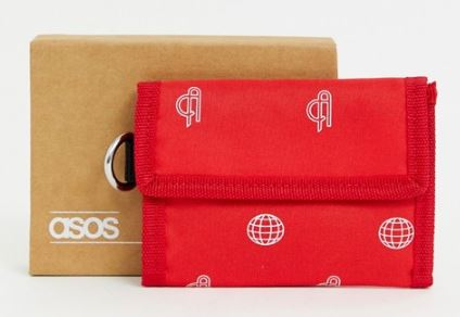 MENS TRIFOLD RED PRINT WALLET WITH COIN POCKET BY ASOS DESIGN