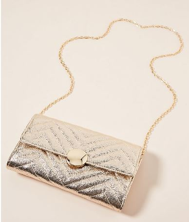METALLIC GOLD CHEVRON SNAP WALLET FROM ANTHROPOLOGIE