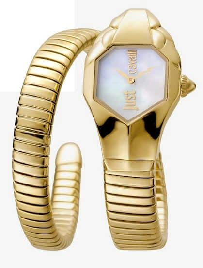WOMENS 22MM YELLOW GOLD DOUBLE WRAP CUFF WATCH BY JUST CAVALLI