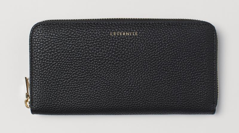 WOMENS BLACK FAUX LEATHER LONG WALLET WITH COIN POCKET FROM H&M