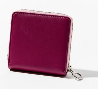 WOMENS BURGUNDY SQUARE ZIP COIN WALLET FROM URBAN OUTFITTERS