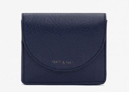 WOMENS DUSKY BLUE VEGAN LEATHER FARRE CARD WALLET BY MATT & NAT