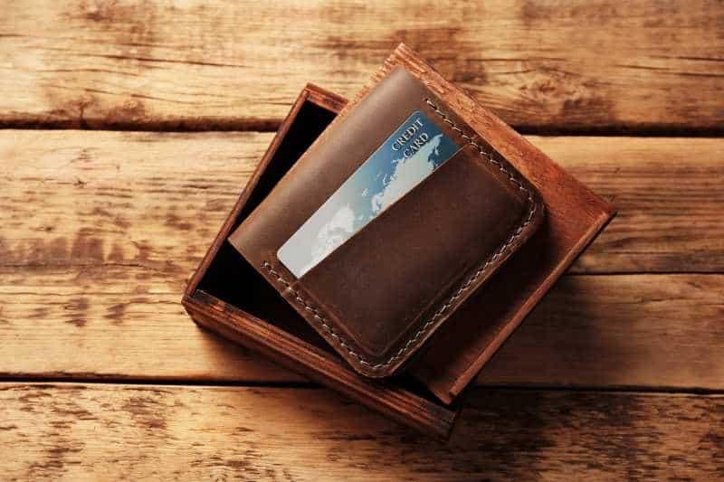 vegan card wallet on wood table