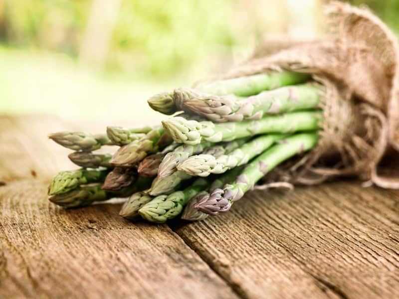Asparagus in a burlap bag