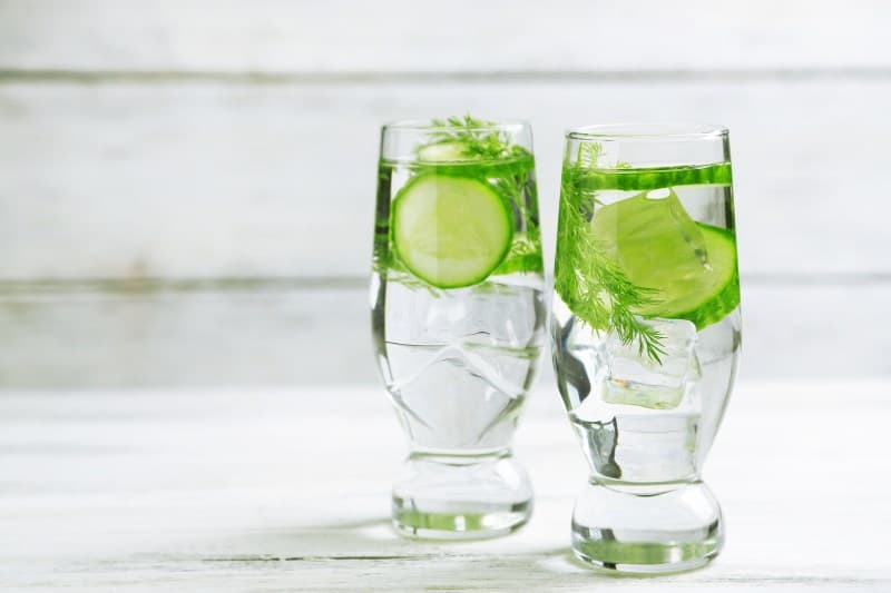 Cucumber Water with a sprig of dill