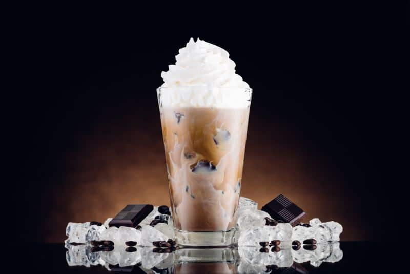 iced coffee with vegan whipped cream