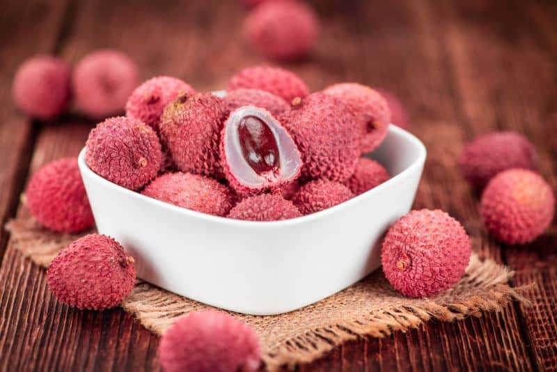 lychee fruit in a bowl