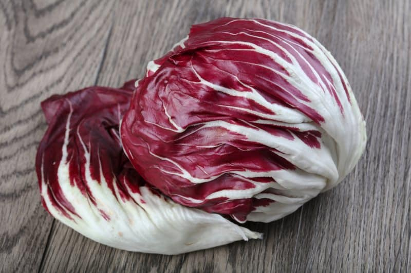 Fresh Radicchio salad on the wood background