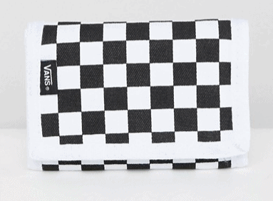 TRIFOLD BLACK AND WHITE CHECKERBOARD WALLET BY VANS
