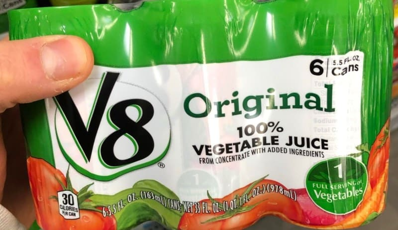 cans of v8 vegetable juice
