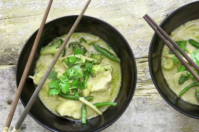 green curry with seitan vegan meat